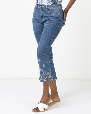 Queenspark Scalloped Hemmed Woven Denim Capri Jeans Blue