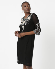 Queenspark Embroidered Mesh Glam Knit Dress Black