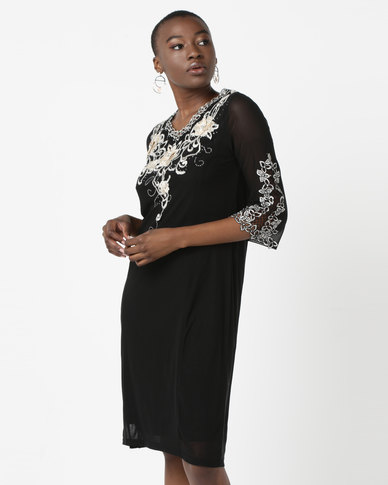 Queenspark Embroidered Mesh Glam Knit Dress Black