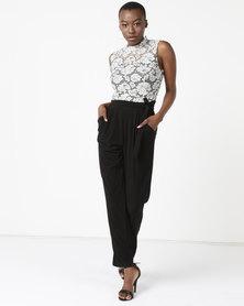 Queenspark Lace Top Knit Jumpsuit Black & White