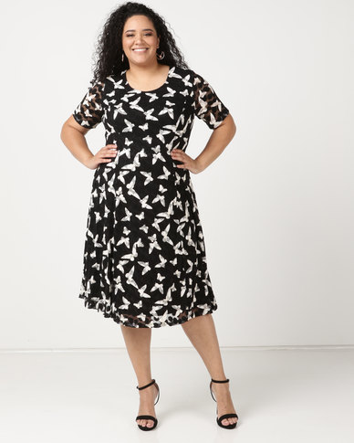 Queenspark Plus Short Sleeve Butterfly Lace Fit & Flare Knit Dress Black