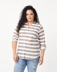 Queenspark Plus Fancy Woven Striped Voile Shirt Natural