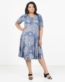 Queenspark Plus New Circles Printed Knit Dress Blue