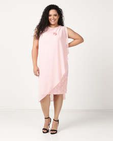 Queenspark Plus Floaty Triple Layer Glamour Knit Dress Pink
