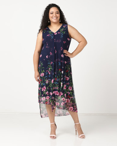 Queenspark Plus New Layered Printed Knit Dress Navy