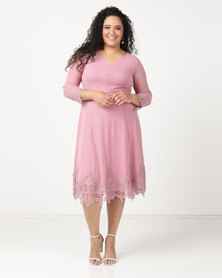 Queenspark Plus Updated Mesh Dress With Iron On Detail Pink