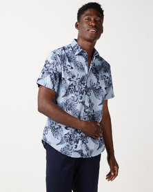 JCrew Flower Print Shirt Blue