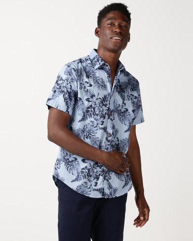 JCrew Flower Print Shirt Blue
