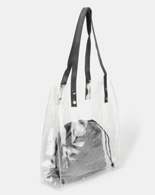 UB Creative PVC Bag With Inner Glitter Pouch Silver