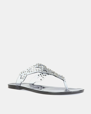 b6797e984f9d Queenspark Scattered Crystal Jelly Sandals Navy