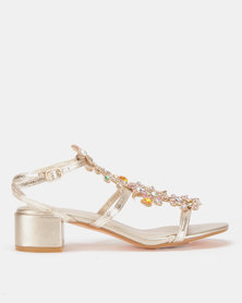 Queenspark Swirl with Jewels on Centre Piece of Medium Sandals Gold