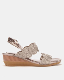 Queenspark Coil Wedge Sandals Pewter