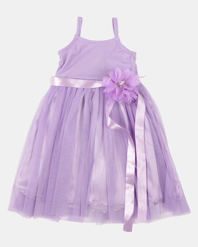 Fairy Shop Satin And Soft Tulle Dress Purple