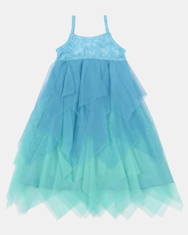 Fairy Shop Two-Tone Pointy Mesh Dress Blue