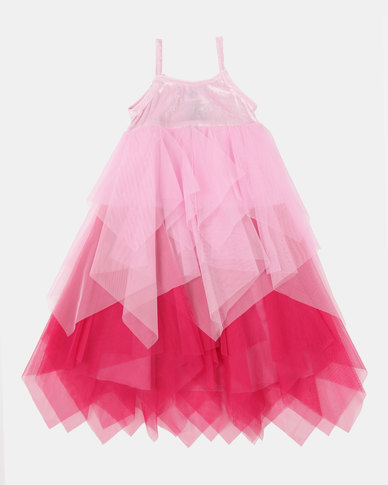 Fairy Shop Two-Tone Pointy Mesh Dress Pink