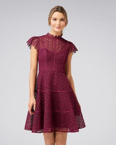 a68209702b8e Forever New Ella Lace Skater Dress Burgundy