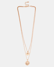 By Cara Greek Coin Necklace Gold-Tone