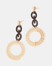 By Cara Woven Link Drop Earrings Brown