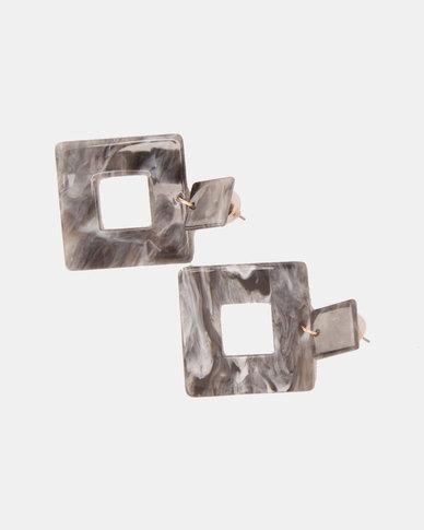 By Cara Marble Plastic Drop Earrings Grey