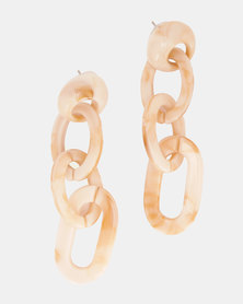 By Cara Marble Plastic Link Drop Earrings Gold-Tone
