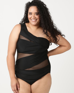 SALT One Shoulder Mesh One Piece Black