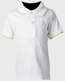 Kids White Trimmed Polo Shirt W/lime