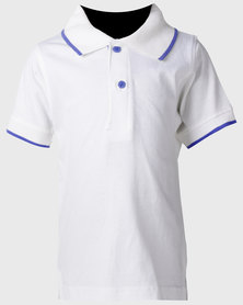Kids White Trimmed Polo Shirt W/Royal