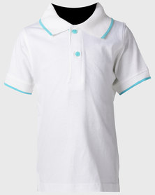 Pro Active Kids White Trimmed Polo Shirt W/Turq