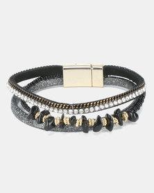 Lily & Rose Glam Stacked Bracelet Black