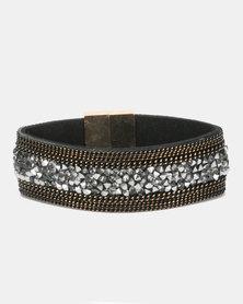 Lily & Rose Rhinestone Encrusted Stacked Bracelet Copper & Gunmetal
