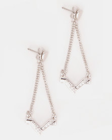 Guess Triometric V-Style Earrings Silver-tone