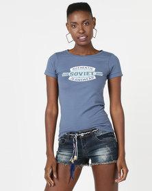 Soviet Logo Short Sleeve T-Shirt Turquoise