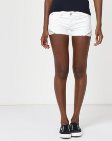 Soviet Side Lace Detail Denim Shorts White
