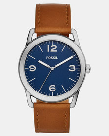 Fossil Ledger Three-Hand Leather Watch Brown