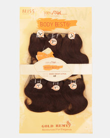 Bliss Hair 100% Human Hair 7 Inches Body Vest 6in1 Plus Lace Closure Colour 4
