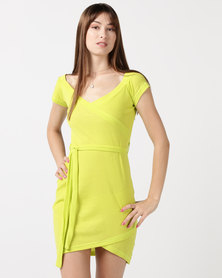 Utopia Rib Wrap Dress Green