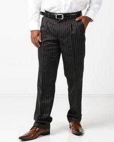 Pro Active Phillip Stripe Trousers Charcoal