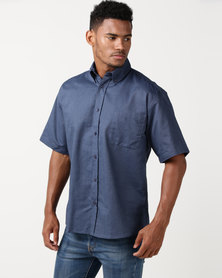Pro Active Short Sleeve Denim Shirt Navy