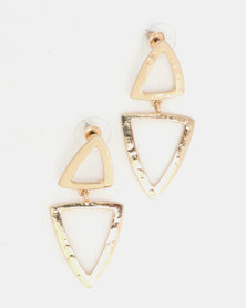 Lily & Rose Double Tri Drop Earrings Gold