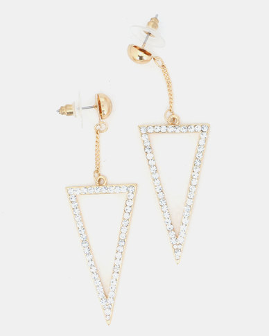 Lily & Rose Diamante Triangle Drop Earrings Gold
