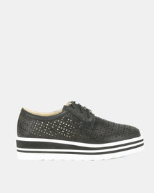 Utopia Lace Up Flatforms Black
