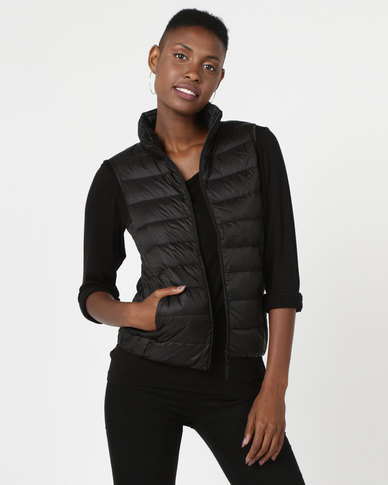 G Couture Straight Line Sleeveless Puffer Jacket Black