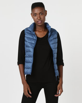 G Couture Straight Line Sleeveless Puffer Jacket Blue