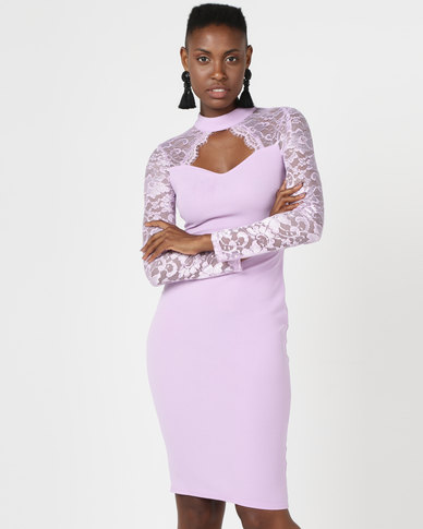 AX Paris Choker Neck Lace Sleeve Midi Dress Lilac
