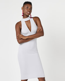 AX Paris Choker Neck Midi Dress Silver