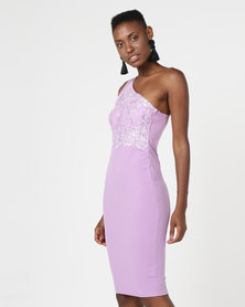 AX Paris One Shoulder Sequin Embroidered Bodycon Lilac