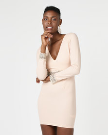 AX Paris Sleeved Midi Dress Nude