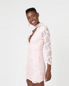 AX Paris Lace Choker Bodycon Mini Dress Pink