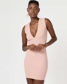 AX Paris V-Front Bodycon Dress Nude