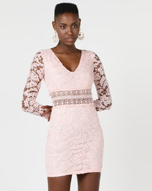 AX Paris Crochet Detailed Dress Pink